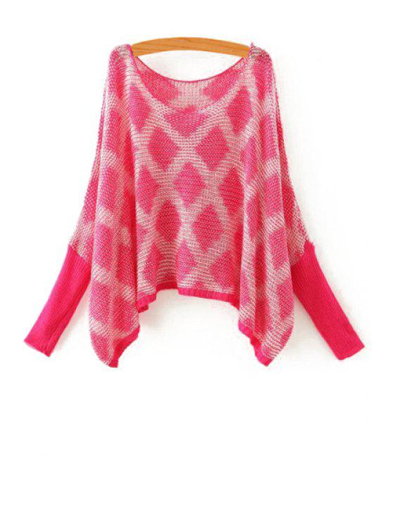 women Argyle Pattern Long Sleeves Sweater - ROSE ONE SIZE(FIT SIZE XS TO M)