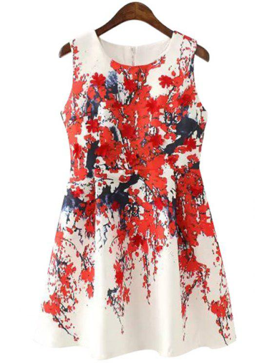 ladies Plum Blossom Print Sleeveless Dress - RED S