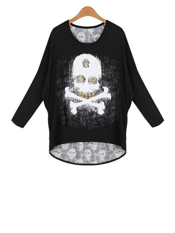 sale Skull and Skeleton Print Rivet Loose Blouse - BLACK ONE SIZE(FIT SIZE XS TO M)