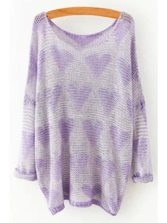 sale Heart Pattern Long Sleeves Sweater - PURPLE ONE SIZE(FIT SIZE XS TO M)