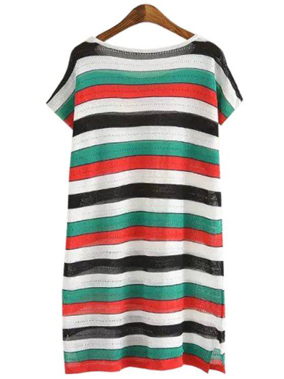 shop Jewel Neck Colorful Stripe Short Sleeve Dress - GREEN ONE SIZE(FIT SIZE XS TO M)