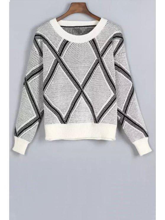 outfit Argyle Pattern Long Sleeve Jewel Neck Sweater - GRAY ONE SIZE(FIT SIZE XS TO M)