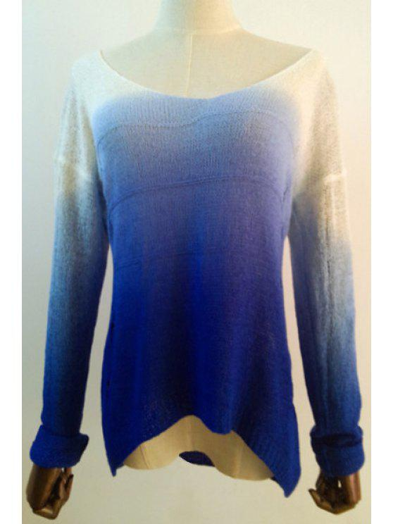 chic Ombre Color See-Through Broken Hole Sweater - SAPPHIRE BLUE ONE SIZE(FIT SIZE XS TO M)