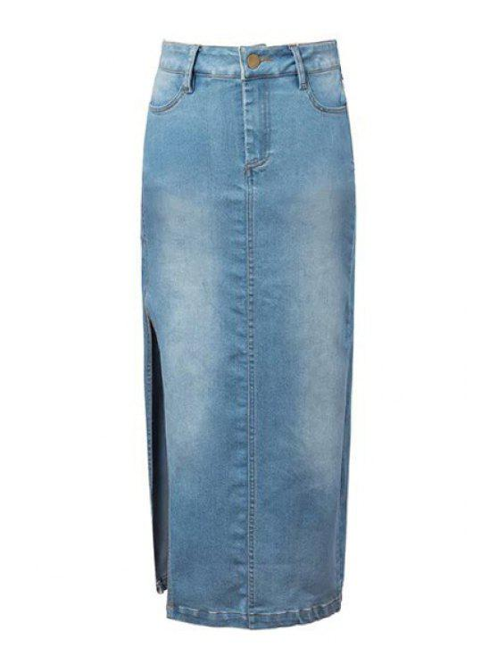 online Denim Blue High Waisted Skirt - LIGHT BLUE S