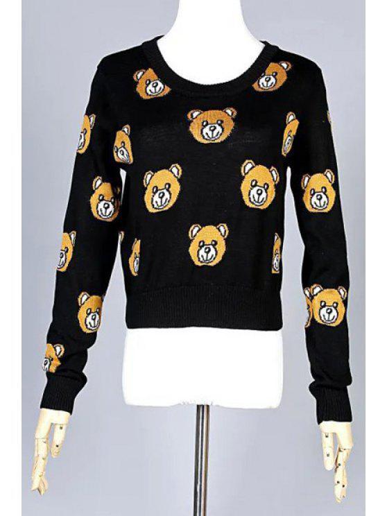chic Bear Cub Pattern Long Sleeve Sweater - BLACK S