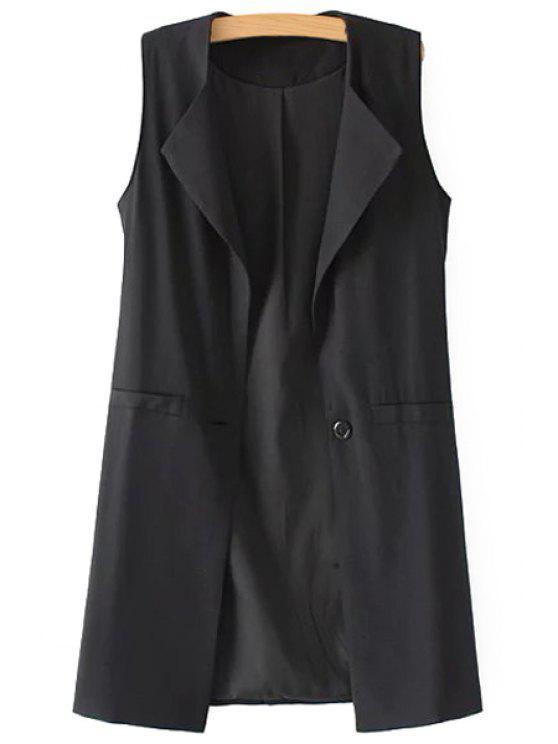 hot Pure Color Turn Down Collar Waistcoat - BLACK S
