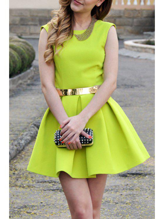 online Green Open Back Fit and Flare Dress - NEON GREEN S