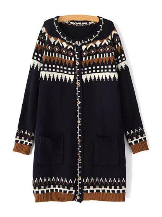 unique Geometric Pattern Pocket Long Sleeve Cardigan - BLACK ONE SIZE(FIT SIZE XS TO M)