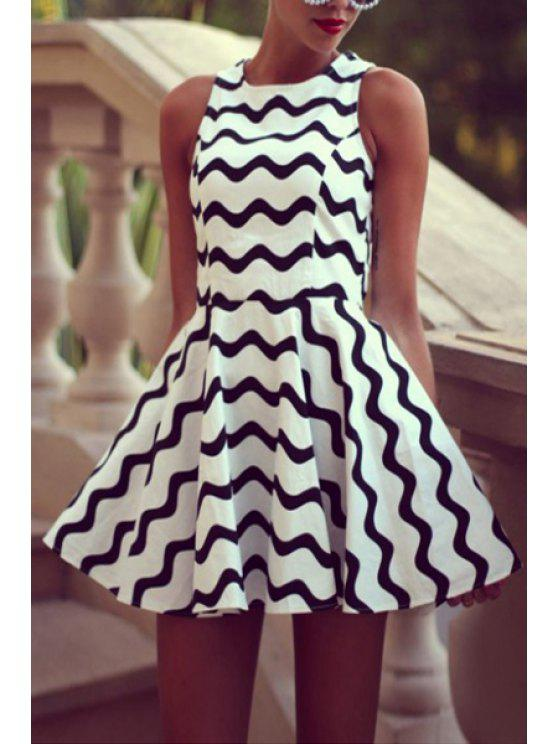 outfits Wavy Stripes Ruffled Fit and Flare Dress - WHITE AND BLACK S