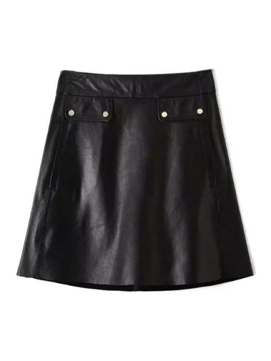 fashion PU Leather Black A Line Skirt - BLACK S