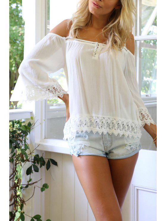new Lace Spliced Wave Cut White Chiffon Blouse - WHITE M