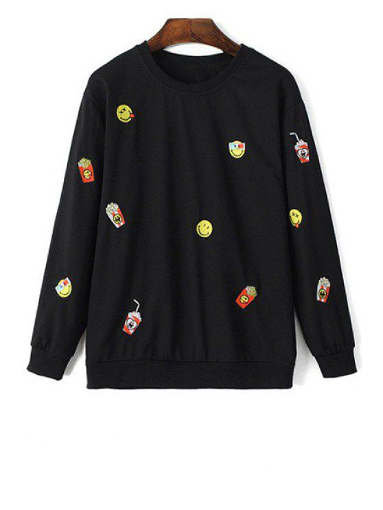 best Emoji Embroidery Long Sleeve Sweatshirt - BLACK M