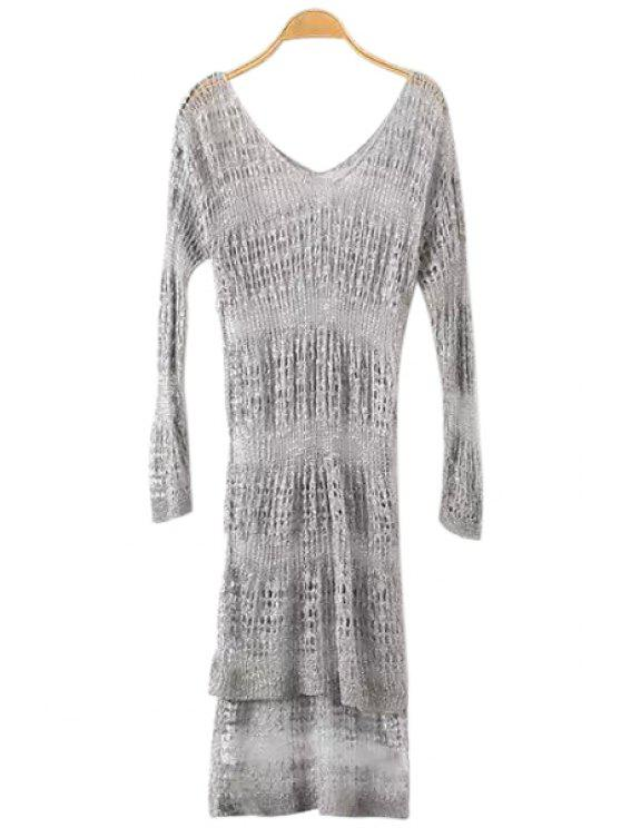new See-Through Openwork Long Sleeve Dress - GRAY ONE SIZE(FIT SIZE XS TO M)