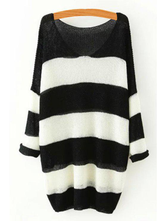 unique Striped V Neck Long Sleeve Sweater - BLACK ONE SIZE(FIT SIZE XS TO M)