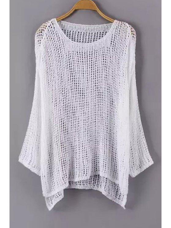 shops Solid Color See-Through Long Sleeve Sweater - WHITE ONE SIZE(FIT SIZE XS TO M)