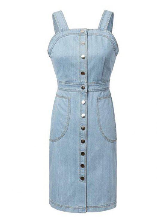 online Light Blue Denim Sleeveless Dress - BLUE S