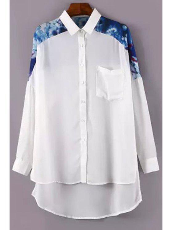 ladies Print Spliced Shirt Neck Long Sleeve Shirt - WHITE S