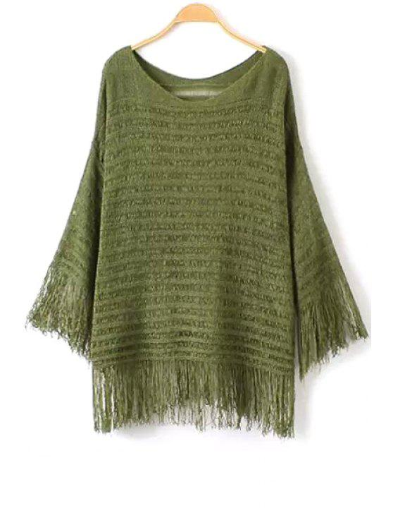womens Fringe Solid Color Long Sleeve Sweater - ARMY GREEN ONE SIZE(FIT SIZE XS TO M)