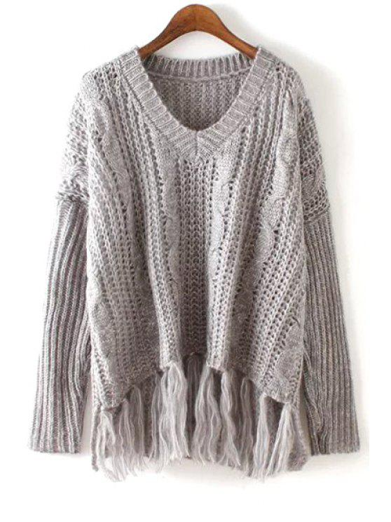 best V-Neck Solid Color Fringe Splicing Sweater - GRAY ONE SIZE(FIT SIZE XS TO M)