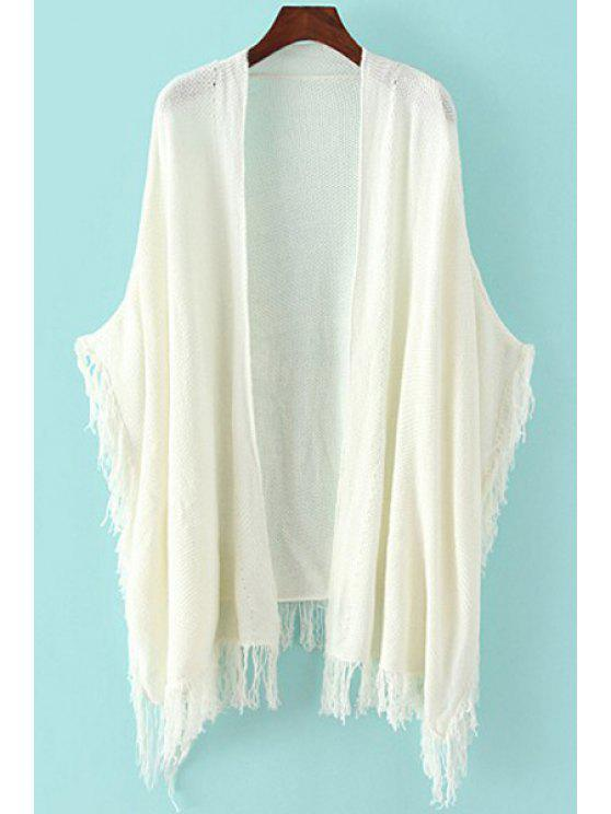 shops Collarless Fringe Solid Color Cardigan - CRYSTAL CREAM ONE SIZE(FIT SIZE XS TO M)