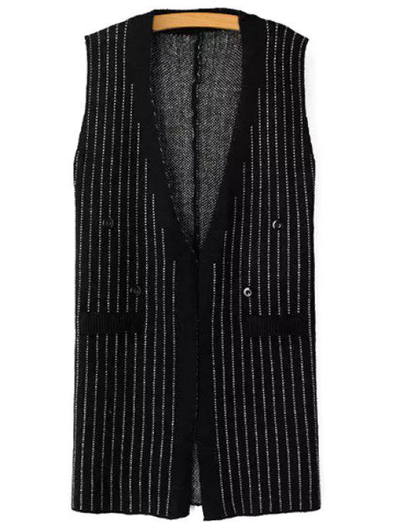 womens Deep V Neck White Stripe Sleeveless Waistcoat - BLACK S