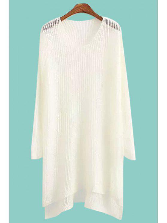 latest Scoop Neck See-Through High Low Sweater - WHITE ONE SIZE(FIT SIZE XS TO M)