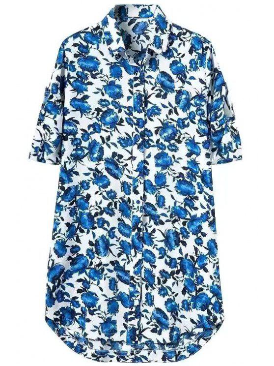 sale Blue Floral Print Short Sleeve Shirt For - AS THE PICTURE S