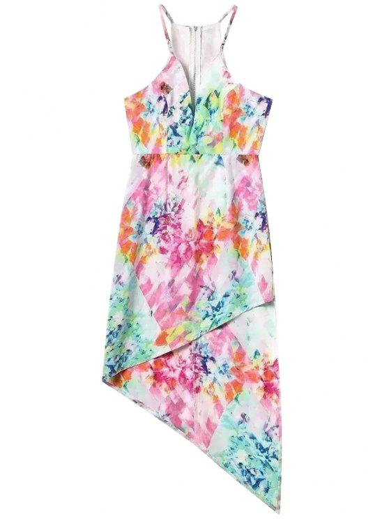 trendy Spaghetti Strap Colorful Printed Asymmetrical Dress - COLORMIX S