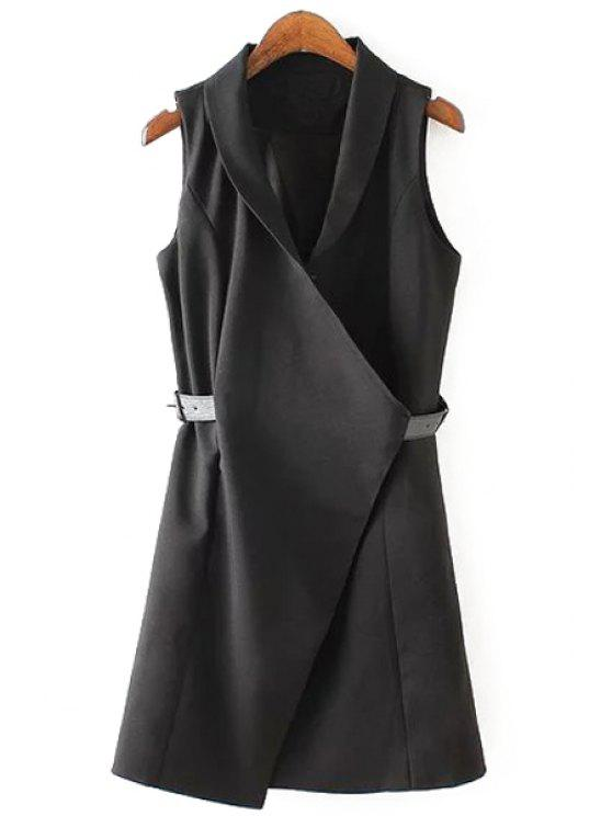 trendy Solid Color Belt Sleeveless Waistcoat - BLACK M