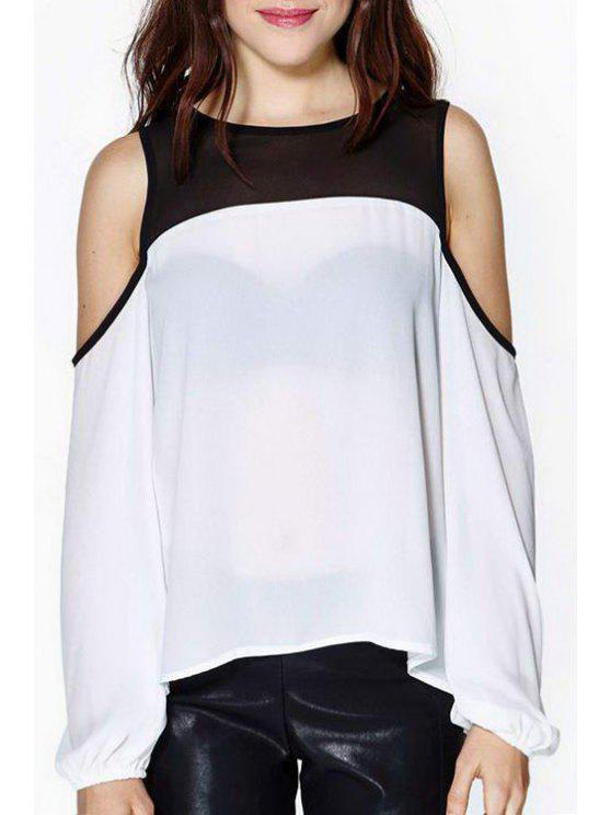 womens Color Block Long Sleeve Chiffon Blouse - WHITE S