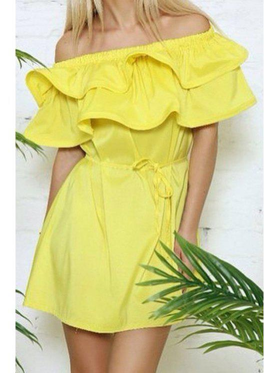women's Solid Color Ruffled Off The Shoulder Dress - YELLOW XL