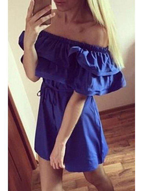 ladies Solid Color Ruffled Off The Shoulder Dress - PURPLISH BLUE S