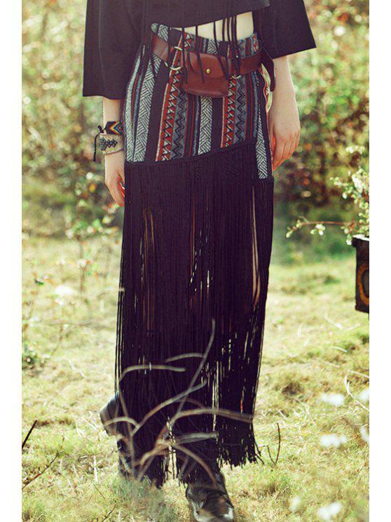 trendy Color Block Stripe Tassel Splicing Skirt - BLACK XS