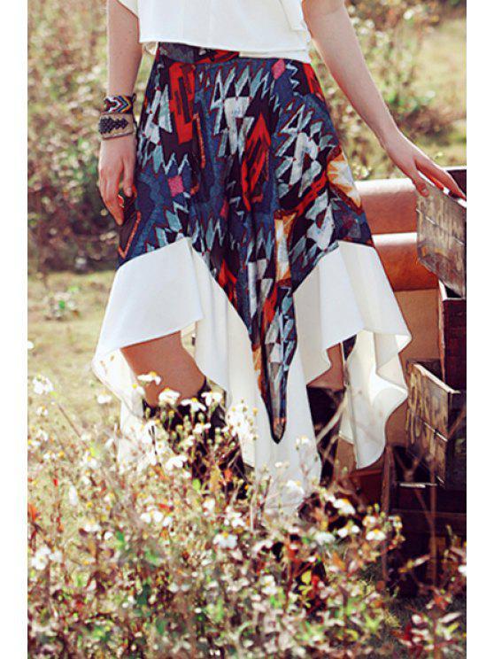 womens Color Block Geometric Print Skirt - PURPLISH BLUE S