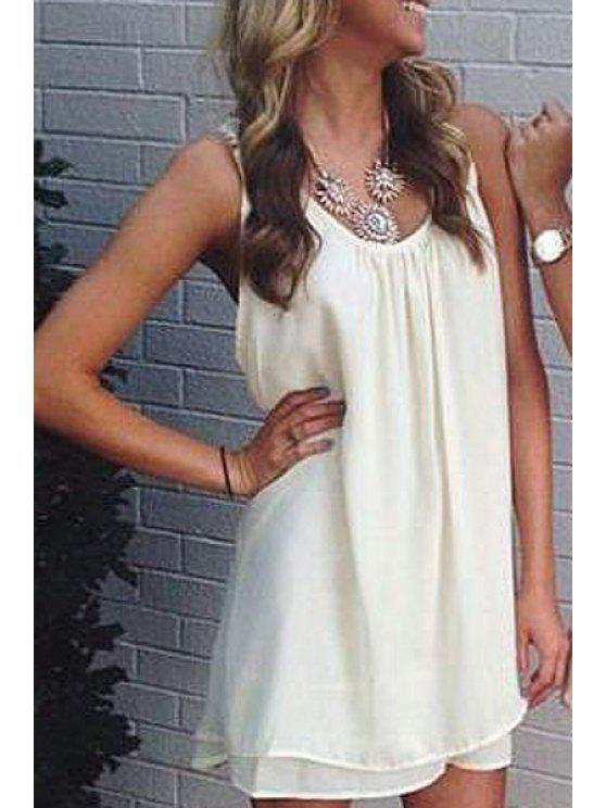 affordable Lace Spliced Scoop Neck Sleeveless Dress - WHITE XL