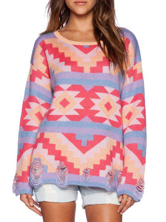 unique Colorful Geometric Pattern Broken Hole Sweater - COLORMIX ONE SIZE(FIT SIZE XS TO M)