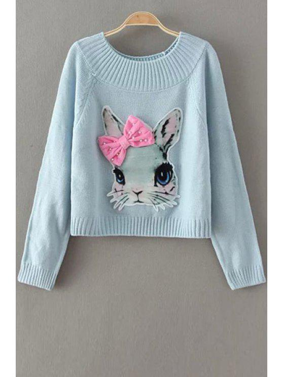 shop Jewel Neck Rabbit Pattern Sweater - BLUE ONE SIZE(FIT SIZE XS TO M)
