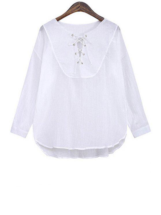 chic Solid Color Lace-Up Loose-Fitting Blouse - WHITE ONE SIZE(FIT SIZE XS TO M)
