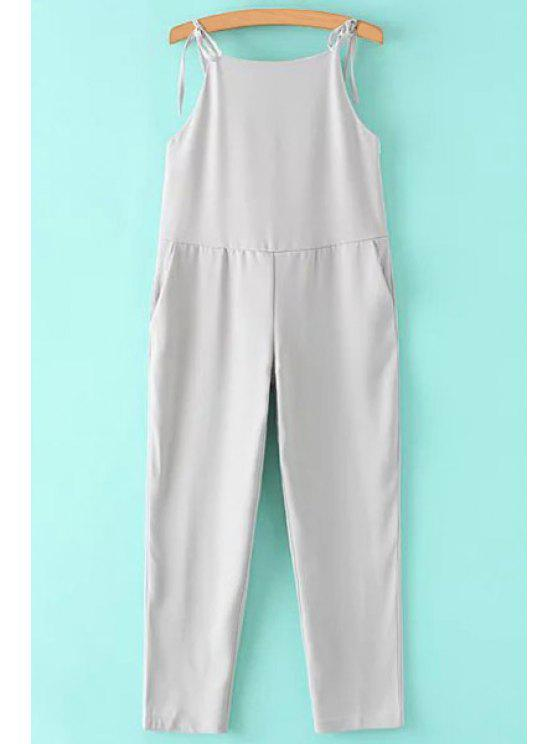 trendy Solid Color Chiffon Cami Backless Jumpsuit - GRAY S