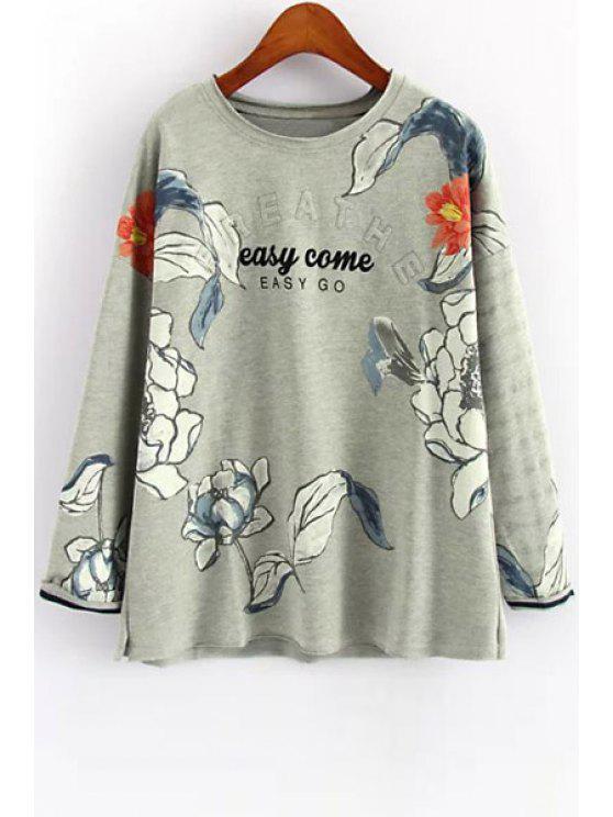 fashion Flowers Print Long Sleeve Sweatshirt - GRAY ONE SIZE(FIT SIZE XS TO M)
