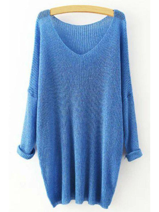 shops Pure Color Loose Long Sleeve Sweater - SAPPHIRE BLUE ONE SIZE(FIT SIZE XS TO M)
