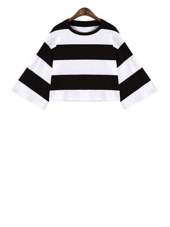 buy Wide Sleeve Color Block Striped Crop Top - WHITE ONE SIZE(FIT SIZE XS TO M)