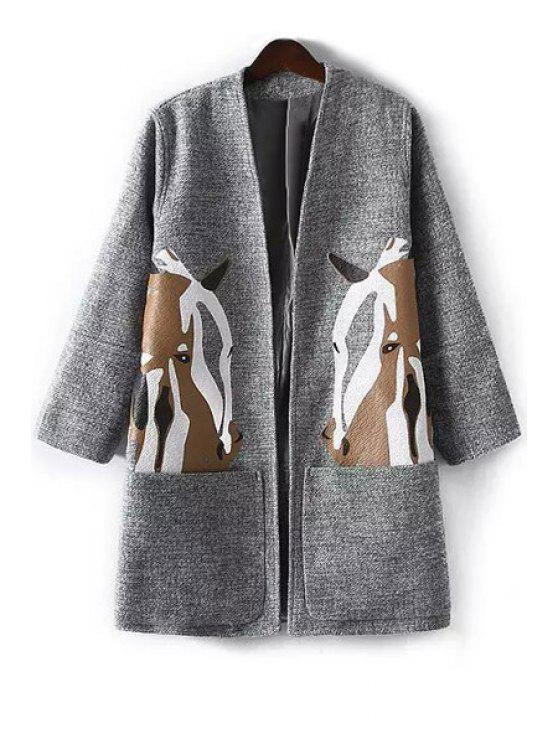 outfits Horse Print Nine-Minute Sleeve Coat - GRAY L