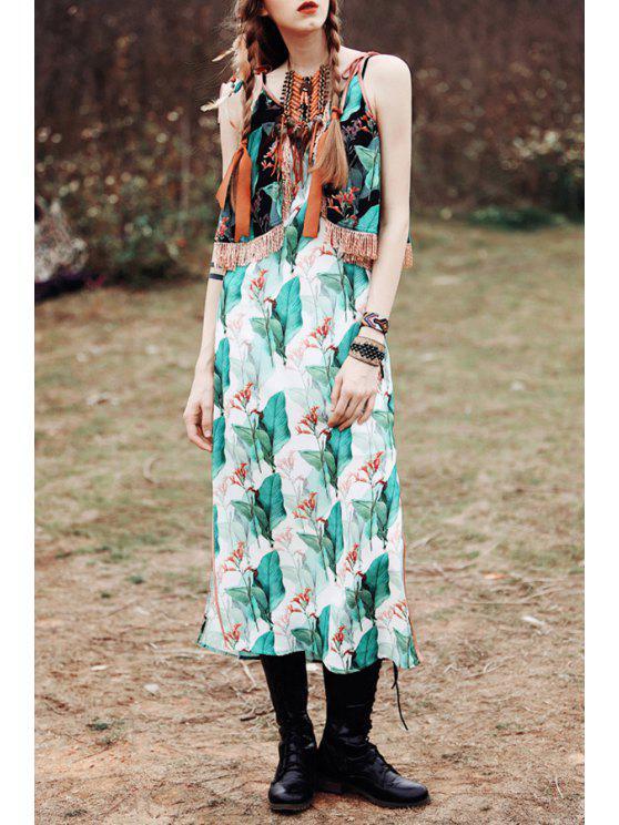 fashion Spaghetti Strap Floral Print Fringe Splicing Dress - COLORMIX XS