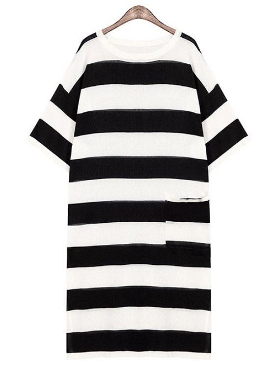 shop Striped One Pocket All-Match Sweater Dress - BLACK ONE SIZE(FIT SIZE XS TO M)