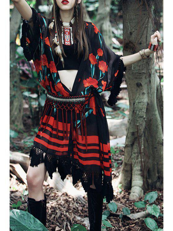 ladies Red Floral Print Tassel Splicing 3/4 Sleeve Blouse - BLACK M