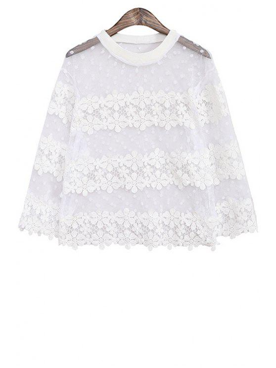women's Lace and Voile Splicing Polka Dot Blouse - WHITE ONE SIZE(FIT SIZE XS TO M)