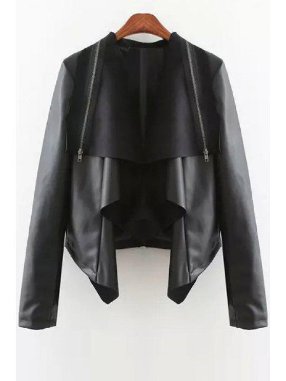 shop PU Leather Turn Down Collar Coat - BLACK S