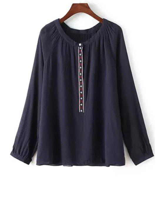 unique Ethnic Embroidery Long Sleeve Blouse - BLACK S
