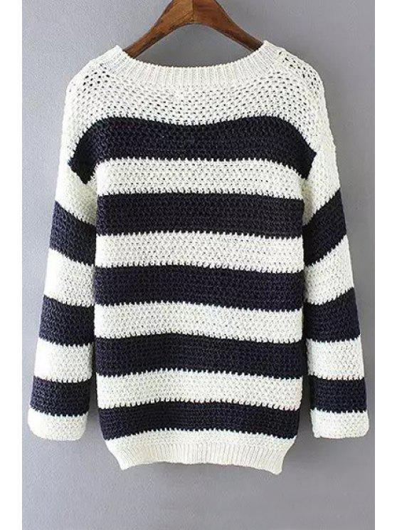 chic Scoop Neck Stripes Long Sleeve Sweater - WHITE AND BLACK S